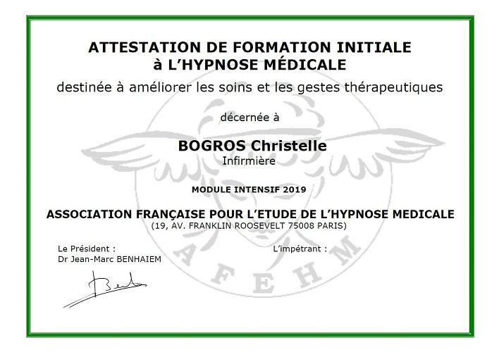 Attestation de formation à l'hypnose médicale de Christelle BOGROS