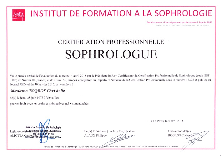 Certification Professionnelle de Sophrologue de Christelle BOGROS